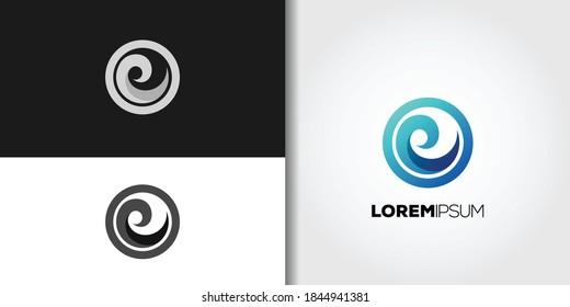 circle wave logo set idea template vector