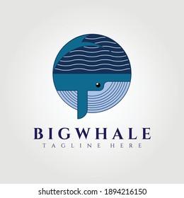 circle whale company logo vector illustration design graphic