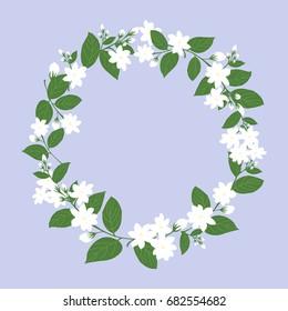 circle of white jasmine for mother's day, flower vector illustration