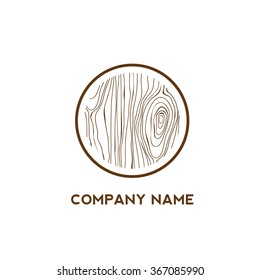 Circle with wooden texture,Logo design,Vector illustration