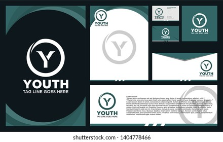 circle Y logo, initial logo Y, Y inside o rounded letter with Branding designs template. Graphic Design icon symbol for Business, Technology, Corporate Identity. Initial Logo Y, Elegant corporate.