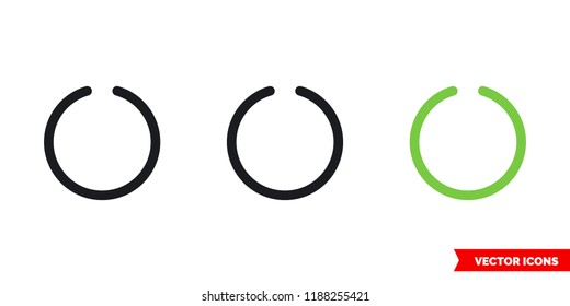 Circled notch icon of 3 types: color, black and white, outline. Isolated vector sign symbol.
