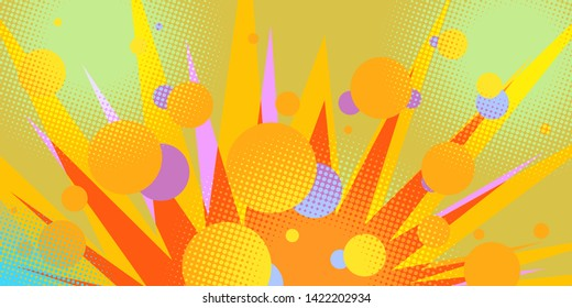 circles abstract background eighties style 80s. Comic cartoon pop art retro vector illustration drawing