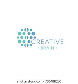 Circles, abstract logo. Creative brain vector logotype. New technology illustration. Innovation idea icon