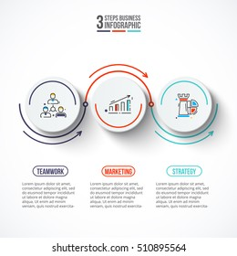 Circles with arrows strokes for infographic. Template for diagram, graph, presentation and chart. Business concept with 3 options, parts, steps or processes. Outline icons.