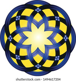 Circles cut to 3/4, joined and intertwined to form a circular shape, filled with yellow and the center is a star.