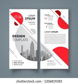 Circles flyer theme set brochure design template red color
