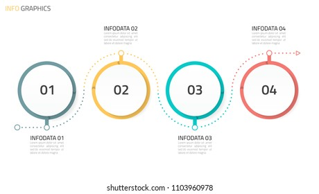 Circles infographics design template with linear line elements. Business concept with 4 options, steps or processes. Vector eps10 illustration.