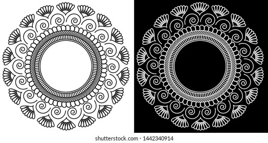 Circles, Lines, Spiral and Flowers in Mandala Design Concept - Indian Traditional and Cultural Rangoli, Alpona, Kolam or Paisley vector line art with dark and white background