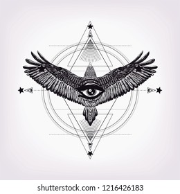 Circles pattern and hand drawn flying bird.All seeing eye.Sacred geometry. Sketch for print t shirt and tattoo art. Diamond and drawing bald eagle and eye of providence.Boho chic.Black and white art.