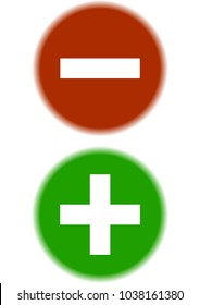 circles red plus green minus sign symbol vector