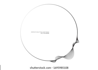 Circles round frame with wavy lines isolated on white background with space for text. Vector design elements for banner, background.