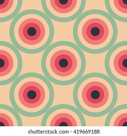 Circles seamless pattern abstract background with concentric circles of pink, red, green and black colors. Colorful bright vector background.