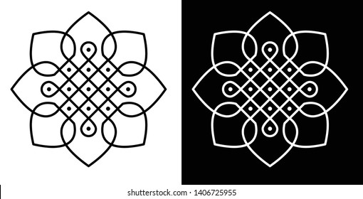 Circles, Squares and 5X5 dots, Surrounded by Petals - Indian Traditional and Cultural Rangoli, Alpona, Kolam or Paisley vector line art with dark and white background