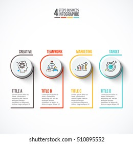 Circles with strokes for infographic. Template for diagram, graph, presentation and chart. Business concept with 4 options, parts, steps or processes. Outline icons.