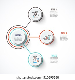 Circles with strokes for infographic. Template for diagram, graph, presentation and chart. Business concept with 3 options, parts, steps or processes. Outline icons.