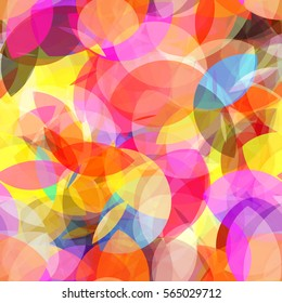 Circles and stylized leaves. Rainbow seamless background. Colorful texture. Abstract vector pattern. Yellow, orange, purple, blue colors