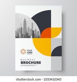 Circles theme Flyer brochure design template cover yellow color
