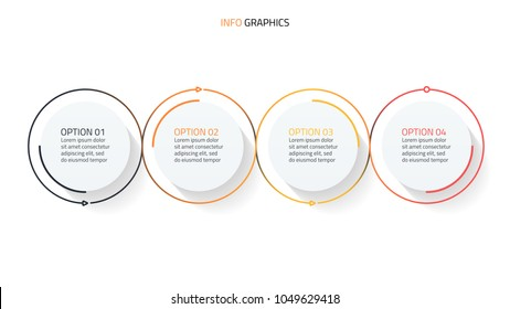 Circles thin line infographics design with arrow processes. Business concept with 4 steps, options.