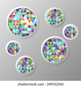 circles with a triangle pattern on white background