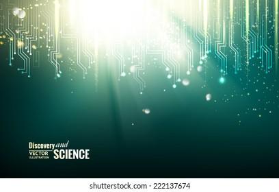 Circuit blue lights background. Vector illustration.