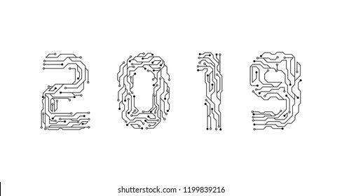 Circuit Board 2019, Technology CPU, Microprocessor Interface. Circuit Number Digital Concept. PCB Illustration Happy New Year 2019