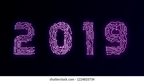 Circuit Board 2019, Technology CPU, Microprocessor Interface. Futuristic. Circuit Number Digital Concept. PCB Illustration Happy New Year 2019
