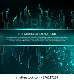 Circuit board background with blue electronics. Vector illustration.