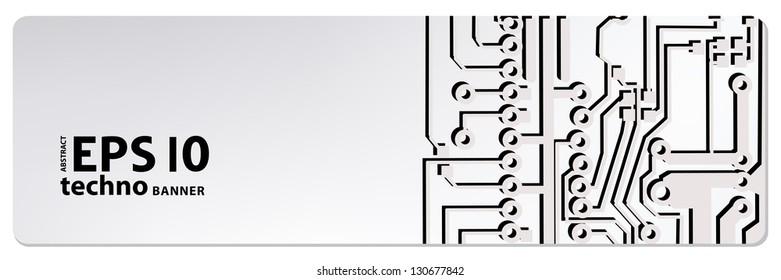 circuit board banner. eps10 vector illustration