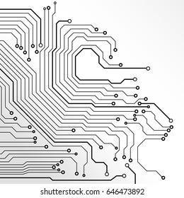 Circuit Board Black Line On Grayscale Tone Concept Vector Background