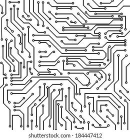 Circuit board black and white vector background