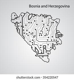 Circuit board Bosnia and Herzegovina eps 10, vector elegant illustration