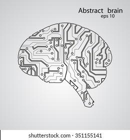 Circuit board brain eps 10, vector illustration