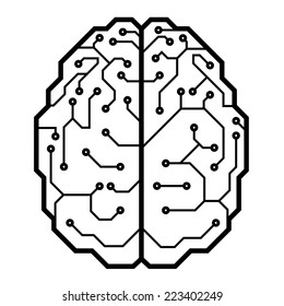 Circuit board with a brain shape. Eps8. CMYK. Organized by layers. Global color. Gradients free.