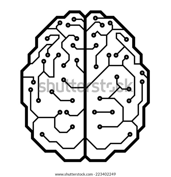 circuit board brain shape eps8 cmyk stock vector  royalty free  223402249