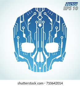 circuit board color skull