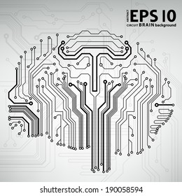 Circuit board computer style brain vector technology background. EPS10 illustration with abstract circuit brain