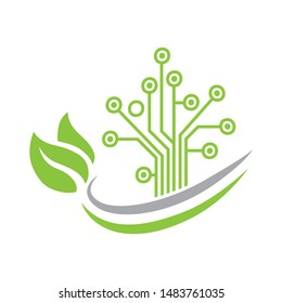 circuit board created abstract tree and green leaves, vector logo icon