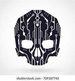 circuit board cyber skull symbol