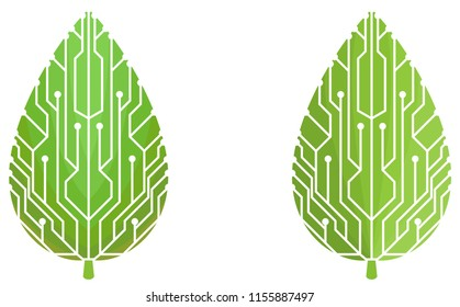 Circuit board design on a green leaf logos. These logos can be used for companies such as eco friendly electronic device manufacturers.