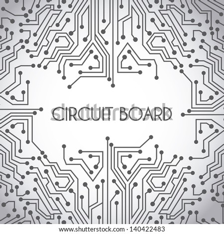 Circuit Board Design Over Gray Background Stock Vector (Royalty Free ...