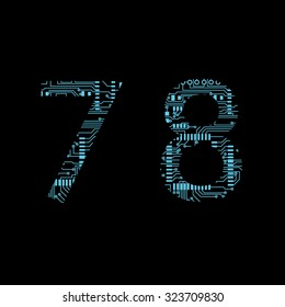 Circuit board digit 7 8 vector Vector Illustration