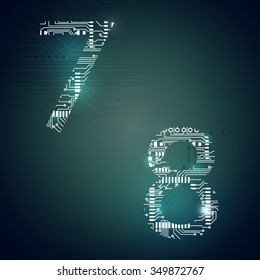 Circuit board digit 7 8 vector