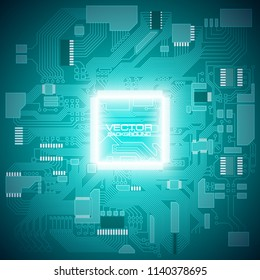 Circuit board. Electronic computer hardware processor technology. Motherboard digital chip. Tech science background. Integrated communication processor. Information engineering motherboard component