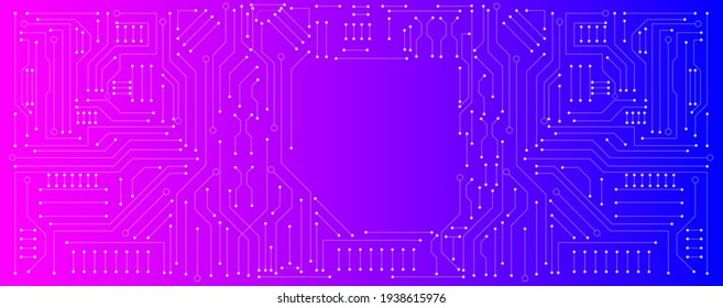circuit board electronic or electrical line with pink and blue background, science engineering  technology concept vector background