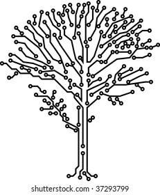 Circuit board electronic vector digital tree - technology network root concept