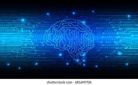 Circuit Board With Encoder And Decoder Binary Code Vector Background. Blue Abstract Brain Security Technology Illustration.