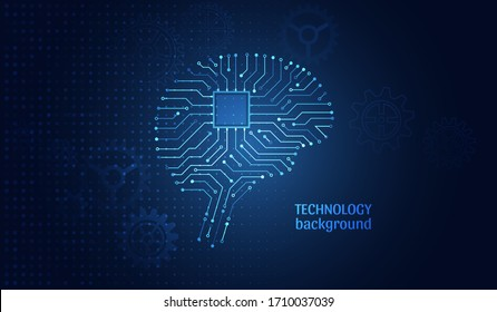 Circuit board in the form of brain. Artificial intelligence. Machine learning technology concept. Abstract human brain