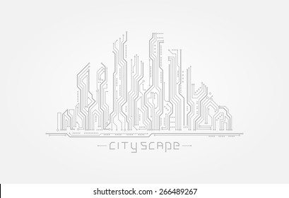Circuit board in the form of city silhouette. Abstract cityscape isolated on white background. Vector illustration
