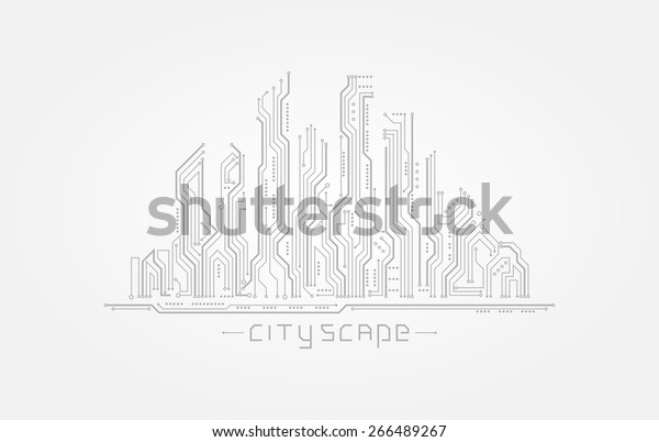circuit board form city silhouette abstract stock vector  royalty free  266489267